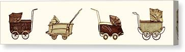 Four Antique Baby Strollers Canvas Print by Martin Bergsma