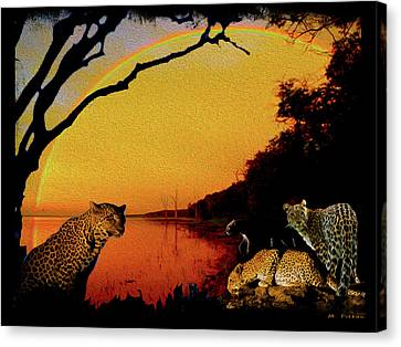 Four At Waterhole Canvas Print