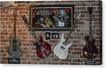 Canvas Print featuring the photograph Vintage Four Autographed Guitars And Signed Record From Bands Avenged Sevenfold- The Off Spring  by Renee Anderson