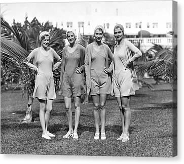 Four Bathing Suit Models Canvas Print by Underwood Archives