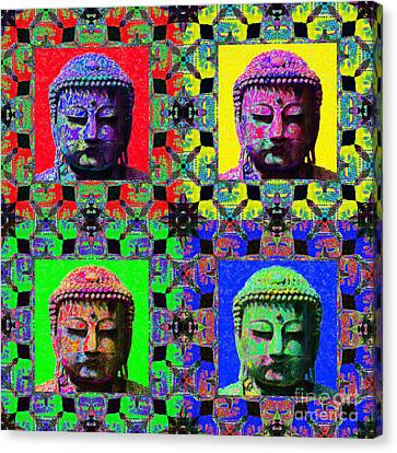 Four Buddhas 20130130 Canvas Print by Wingsdomain Art and Photography