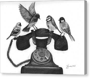 Four Calling Birds Canvas Print