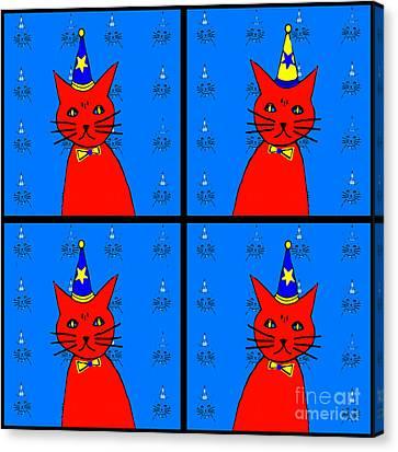 Feline Canvas Print - Four Cats by Barbara Moignard
