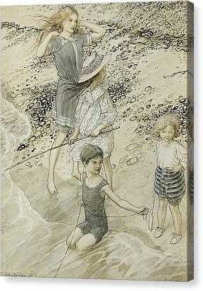 Four Children At The Seashore Canvas Print by Arthur Rackham