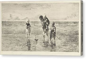 Four Children Playing With Toy Boat On The Beach In Shallow Canvas Print by Artokoloro