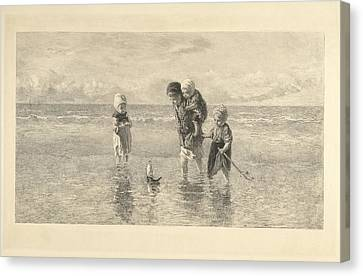 Four Children Playing With Toy Boat On The Beach In Shallow Canvas Print by Carel Lodewijk Dake And A. Salmon & Ardail And Frans Buffa En Zonen