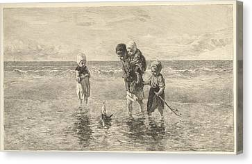 Four Children Playing With Toy Boat On The Beach In Shallow Canvas Print by Carel Lodewijk Dake