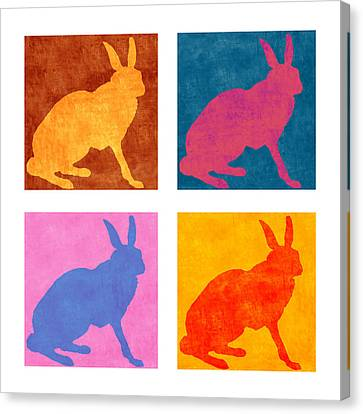 Four Colorful Rabbits Canvas Print