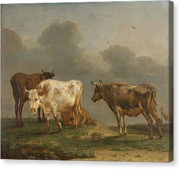 Four Cows In A Meadow Canvas Print