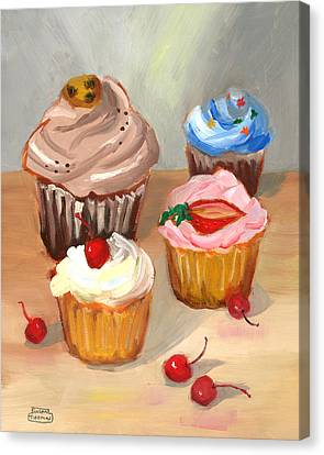 Canvas Print featuring the painting Four Cupcakes by Susan Thomas
