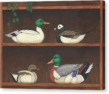 Folk Art Canvas Print - Four Duck Decoys by Linda Mears