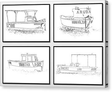 Four Fishing Boats Of Aruba Canvas Print