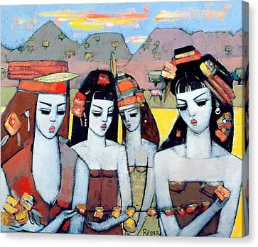 Four From Ys, 2004 Oil On Canvas Board Canvas Print by Endre Roder