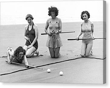 Swim Suit Canvas Print - Four Girls Playing Sand Pool by Underwood Archives