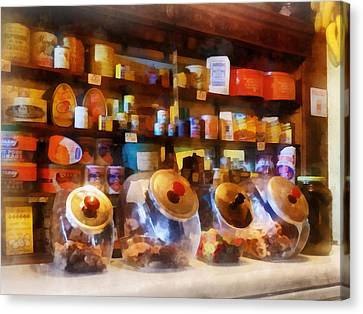 Peanut Canvas Print - Four Glass Candy Jars by Susan Savad