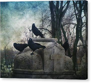 Four Graveyard Crows Canvas Print by Gothicrow Images