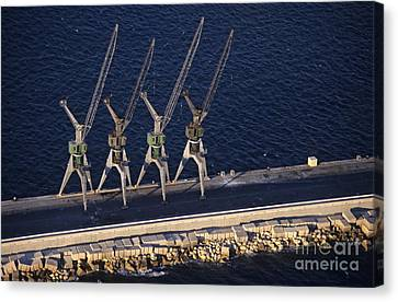 Four Harbour Cranes On Dike Canvas Print by Sami Sarkis