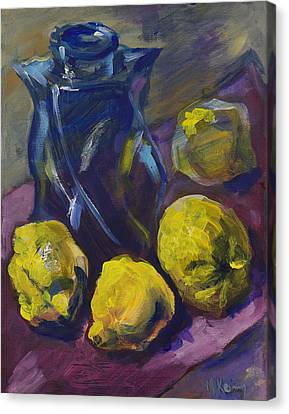 Four Lemons And A Blue Vase Canvas Print