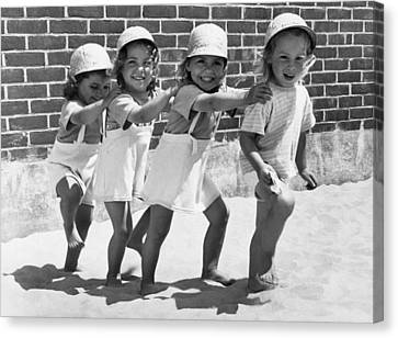 Four Little Girls Having Fun Canvas Print by Underwood Archives