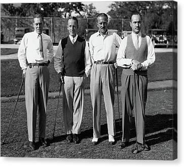Four Men On A Golf Course Canvas Print