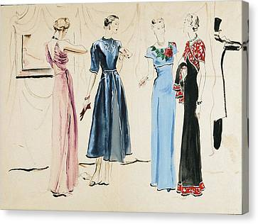 Four Models In Dresses By Alix Canvas Print