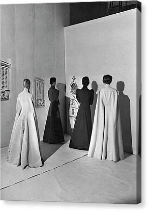 Four Models Wearing Charles James Coats Canvas Print