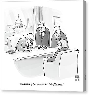 Old Canvas Print - Four Old Washington Bureaucrats Stand Over A Desk by Paul Noth