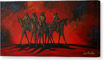 Contemporary Cowgirl Canvas Print - Four On The Hill by Lance Headlee