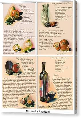 Four Painted Recipes Canvas Print by Alessandra Andrisani