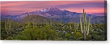 Snow-covered Landscape Canvas Print - Four Peaks Sunset Panorama by Dave Dilli