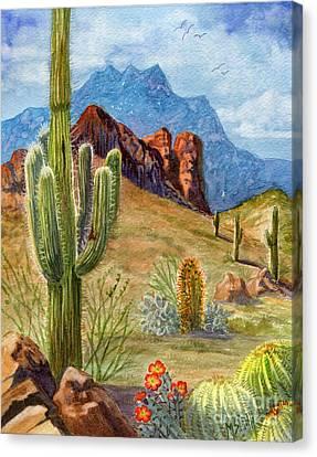 Claret Canvas Print - Four Peaks Vista by Marilyn Smith