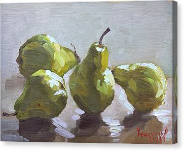 Four Pears Canvas Print by Ylli Haruni
