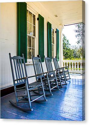 Rocking Chairs Canvas Print - Four Porch Rockers by Perry Webster