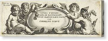 Four Putti Around A Cartouche, Print Maker Anonymous Canvas Print by Cornelis Schut I