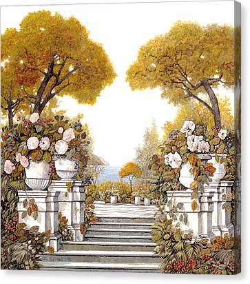 four seasons-autumn on lake Maggiore Canvas Print by Guido Borelli