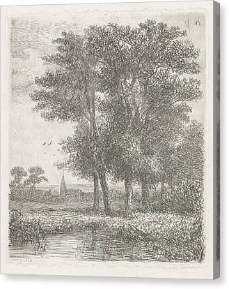 Four Trees In A Fen, Hermanus Jan Hendrik Van Canvas Print by Hermanus Jan Hendrik Van Rijkelijkhuysen