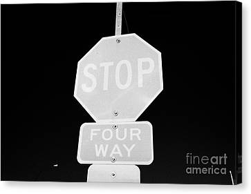 four way stop sign with crosswalk Canada Canvas Print