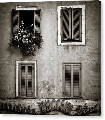Italian Street Canvas Print - Four Windows by Dave Bowman