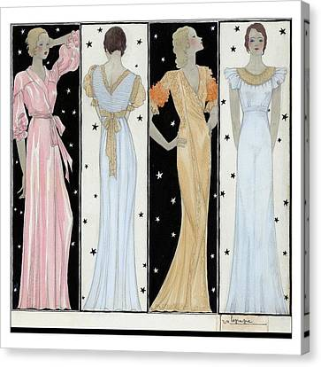 Four Women In Designer Evening Gowns Canvas Print by Georges Lepape