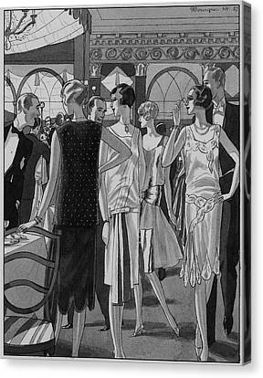 Four Women In Evening Wear Canvas Print