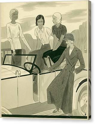 Four Women With A Car Canvas Print