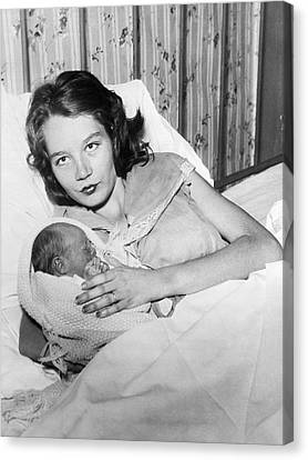 Fourteen Year Old Mother Canvas Print by Underwood Archives