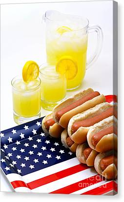 Us Flag Canvas Print - Fourth Of July Hot Dogs And Lemonade by Amy Cicconi