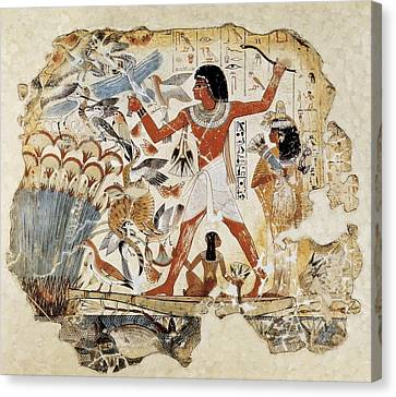 Egyptian Art Canvas Print - Fowling In The Marshes. Ca. 1400 Bc by Everett
