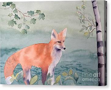 Fox And Birch Canvas Print