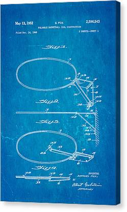 Fox Foldable Basketball Goal Patent Art 1952 Blueprint Canvas Print by Ian Monk