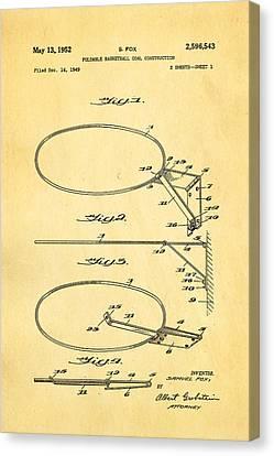 Fox Foldable Basketball Goal Patent Art 1952 Canvas Print