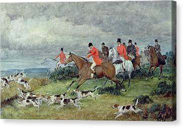 Fox Hunting In Surrey Canvas Print by Randolph