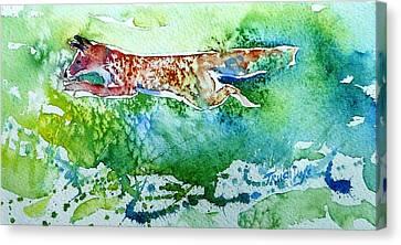 Bushy Tail Canvas Print - Fox- Hunting In The Sun by Trudi Doyle