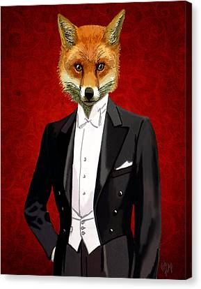 Fox In A Evening Suit Canvas Print by Kelly McLaughlan